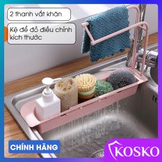 Kệ nhà bếp Kosko kệ bồn rửa chén thông minh có thanh vắt khăn và kệ để đồ điều chỉnh kích thước phù hợp mọi loại chậu rửa bát, làm bằng chất liệu PP, kệ rửa chén kosko