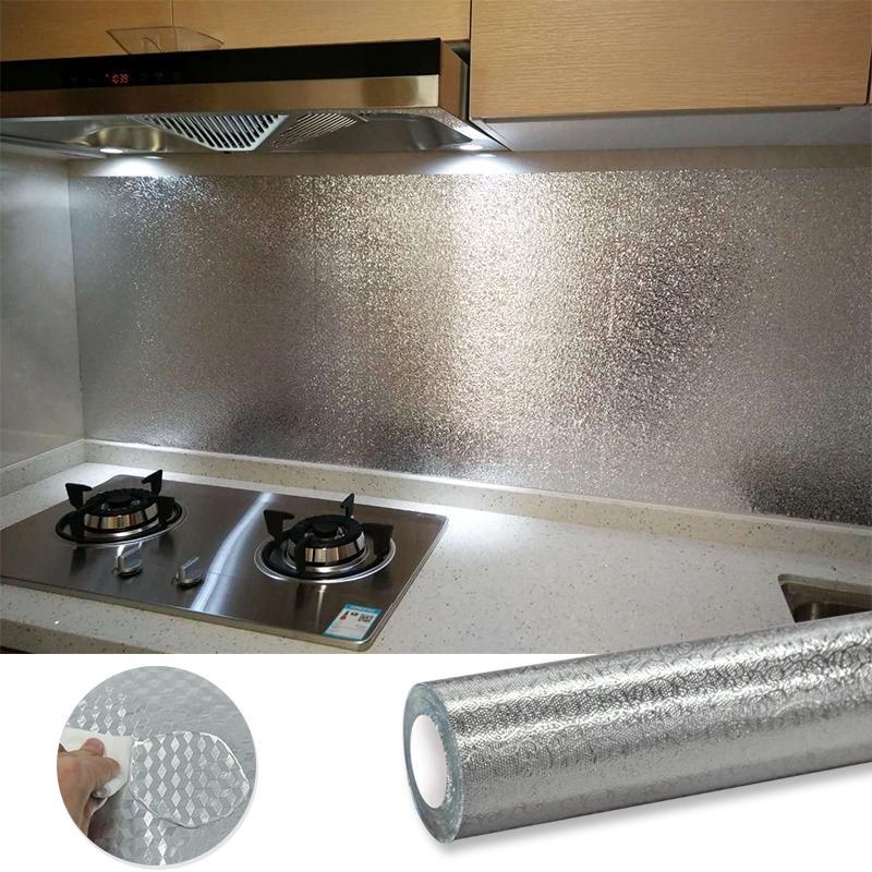 (KHỔ LỚN 9MX60CM) Cuộn decal tráng bạc cao cấp giấy dán bếp tráng nhôm cách nhiệt ô vuông bạc khổ...