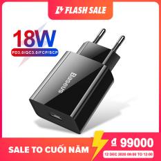 Baseus Bộ sạc nhanh USB 18W PD 3.0 cho điện thoại iphone Huawei Xiaomi, giá rẻ – INTL