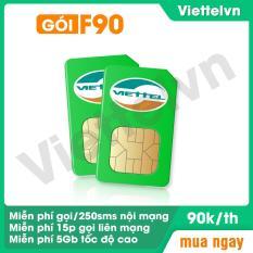 Sim 4G 10 số viettel vn F90. Miễn phí [cuộc gọi nội mạng + tin nhắn + 15 phút ngoại mạng + 5GB data tốc độ cao/tháng] viettelvn.