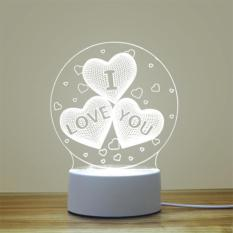 Đèn ngủ 3D V.3 (Mẫu 4 – 3 trái tim có chữ i love you)