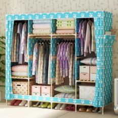 Tủ vải đựng quần áo khung gỗ 4 buồng 8 ngăn (nhiều mẫu) GDTRUONG37