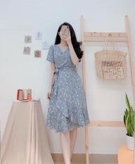 Đầm Nữ Quây Tà Chéo Chân Váy , Họa Tiết Hoa Nhí Cổ Chữ V Kèm Cột Đai Eo Thời Trang Dao Phố Thiết Kết Thời Trang ( Mẫu Mới ) – Winday