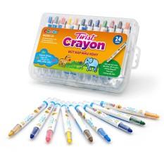 Bút Sáp Màu Xoay Twist Crayon Duka 24 Màu – Hộp Nhựa PP DK3302-24