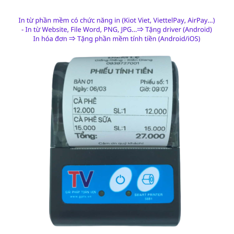 Máy in hóa đơn nhiệt Bluetooth không dây in Viettel Pay Pro, KiotViet goviet, grabfood, Grab, Baemin