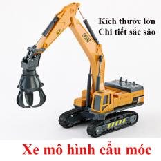 Mô hình xe đồ chơi, xe cẩu móc chất liệu nhựa an toàn cho bé, tỷ lệ kích thước lơn, với các khớp xe chuyển động