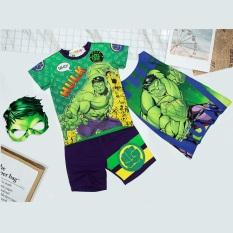Bộ quần áo siêu nhân khổng lồ xanh kèm áo choàng và mặt nạ – Đồ hoá trang siêu nhân tay ngắn bé trai TN17