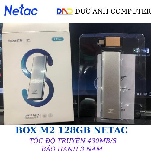 Ổ Cứng Di Động SSD (M2) 128GB NETAC ZSlim Type-C- Hợp Kim Nhôm Cao Cấp (Tặng kèm chuyển USB 3.1)