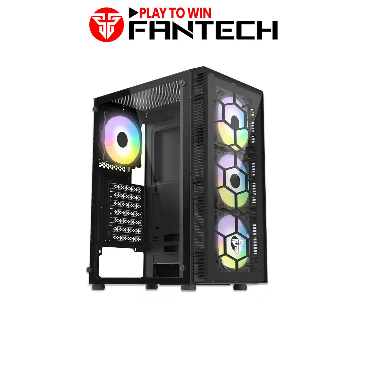 Vỏ Case Máy Tính Mặt Bên Kính Cường Lực FANTECH CG73 HEXA Tặng Kèm 4 Quạt LED RGB – Hãng Phân Phối Chính Thức