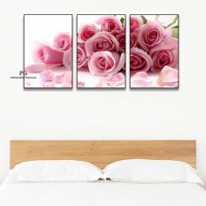 Bộ 3 tranh canvas hoa hồng kt 40x60cm kèm Khung Viền 3D Nổi Bật – Khung Hình Phạm Gia PGTK605