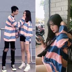 Áo sweater nam nữ Kẻ to Hồng xanh cực đẹp