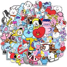 50 Sticker HOẠT HÌNH BT21 dán mũ bảo hiểm Sticker chống nước dán laptop, điện thoại, đàn guitar, mũ bảo hiểm, vali
