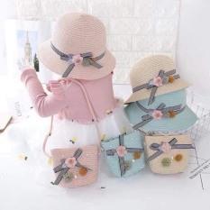 Set mũ cói kèm túi siêu yêu cho bé(2-6 tuổi)
