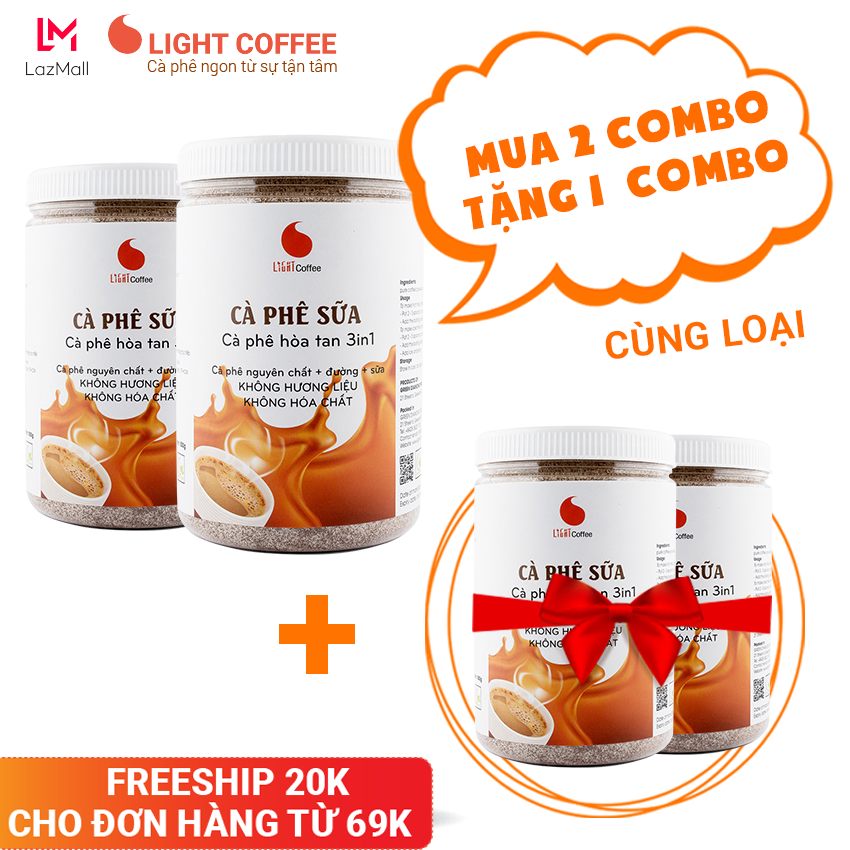 [MUA 4 TẶNG 2] Combo 2 hũ cà phê sữa 3in1, KHÔNG HƯƠNG LIỆU Light Coffee – 500gr/hũ