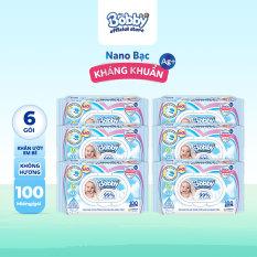Bộ 6 gói khăn giấy ướt trẻ em Bobby Care Nano Bạc Kháng Khuẩn không mùi hương 100 miếng