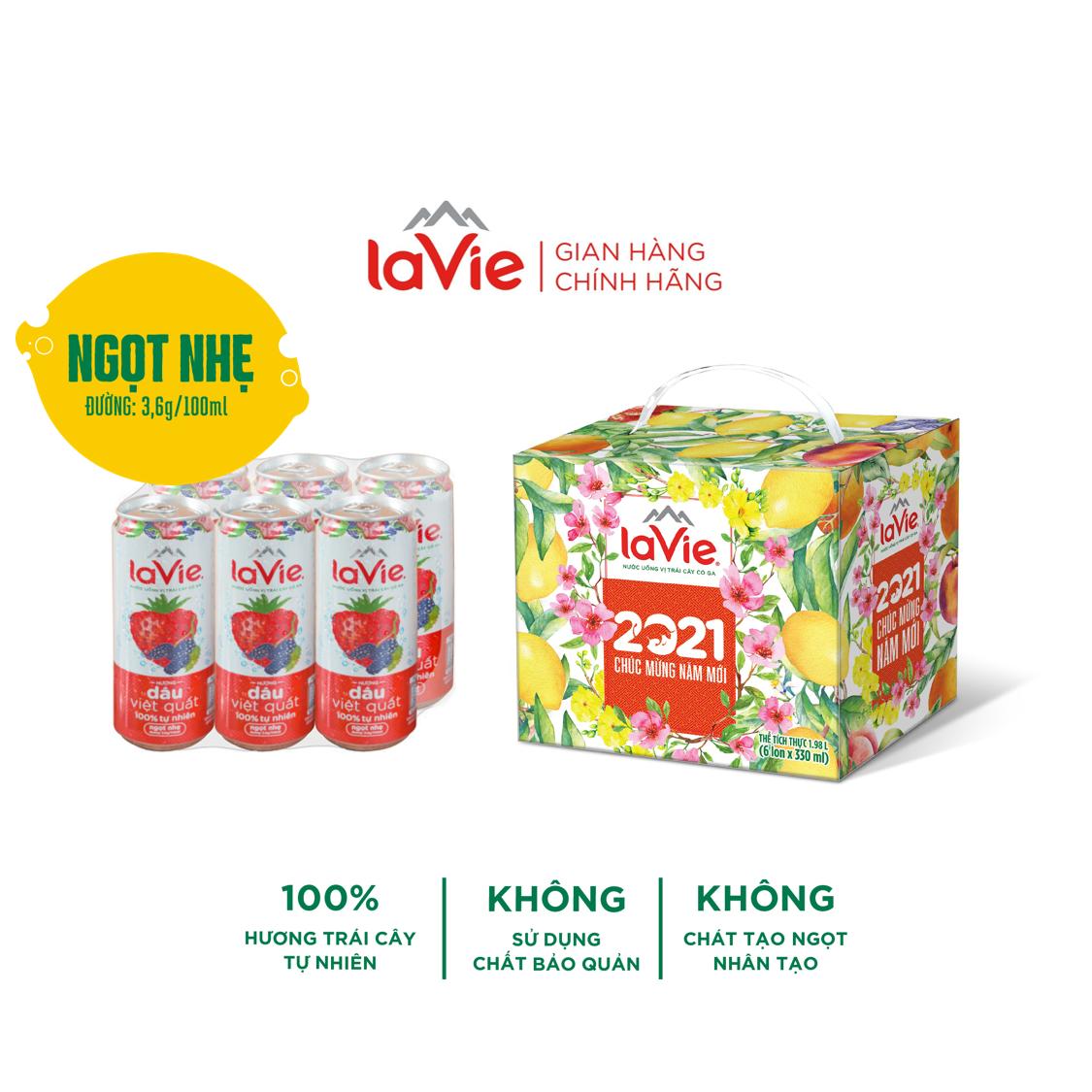 [Freeship Max] [DVQ] Lốc 6 lon Nước uống vị trái cây có ga La Vie Dâu Việt Quất (6 lon x 330ml/lon)
