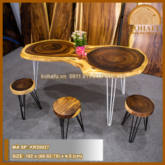 [XẢ KHO – BÀN TRÒN] Bàn tròn gỗ me tây nguyên khối. Bàn có 2 vân gỗ đồng tâm độc lạ. Thích hợp làm bàn ăn, bàn cà phê, bàn làm việc.
