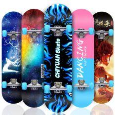 Ván trượt skateboard thể thao cao cấp Mặt nhám hình bánh xe có đèn led tư phát sáng