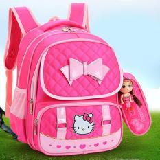 Balo Hello Kitty cho bé gái chống gù lưng BB502- tặng kèm ví và búp bê Chibi