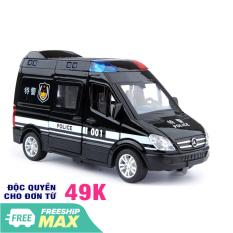 Xe ô tô cảnh sát bằng sắt có âm thanh và đèn mở các cửa đồ chơi trẻ em