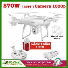 ( BỘ SẢN PHẨM 2 PIN ) Máy bay flycam S70W-2GPS-1080P, camera xoay 90 độ, phiên bản New 2018 full HD 1080P ( Đối thủ Syma X8 Pro)