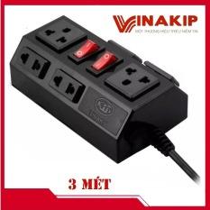Ổ cắm điện đa năng 6 ngả 2 công tắc liền dây 3 mét VINAKIP. Ổ cắm điện chịu tải 2500w chất lượng cao