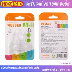 Núm vú bình sữa cổ hẹp Wesser size S/M/L/+ cho bé từ 0- 18 tháng, núm ty bằng chất liệu silicon mềm, chống đầy hơi và giảm lượng khí dư khi bé bú – HDZ-KID
