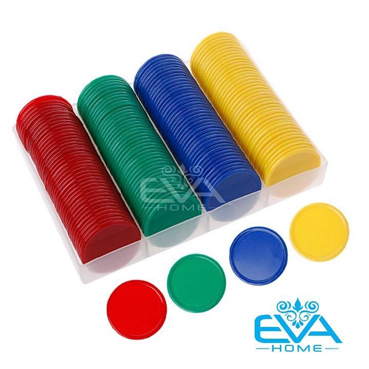 Bộ Đồ Chơi 160 Đồng Xu Nhựa Chip Poker Trơn