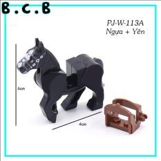 Ngựa trung cổ- Đồ chơi lắp ráp động vật Non lego mô hình Ngựa nâu War Horse PJ-W-113A