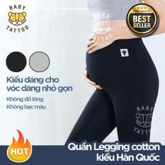 Quần Legging cotton mẹ bầu BABY TATTOO/phụ nữ đang mang thai kiểu Hàn Quốc