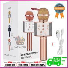 [SALE KỊCH SÀN] Mic Hát Karaoke Bluetooth Không Dây WS858 – Âm vang – Ấm – mic hát karaoke cầm tay mini – micro hát trên xe hơi – mic hát karaoke hay nhất hiện nay – [SAVINA]