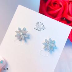 Bông tai bạc nữ, khuyên tai hoa đính đá cao cấp Orin T614