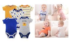Set 5 bộ body suit tay ngắn Việt Nam cho bé Trai 2kg – 11kg – áo liền quần, body suit, sleep suit, body ngắn tay