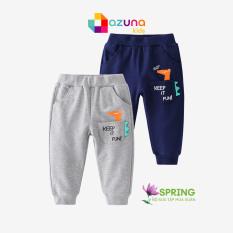 Quần thun bé trai AZUNA WELLKIDS quần dài cho trẻ họa tiết khủng long chất cotton hàng nhập khẩu