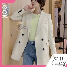 Áo vest nữ dáng dài đính 4 khuy tay nhiều màu chất vải cao cấp
