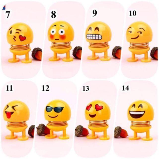 (Được Chọn Mẫu)Emoji Lò Xo Lắc Đầu Trang Trí Xe Hơi, Bàn Làm Việc Siêu Vui Nhộn