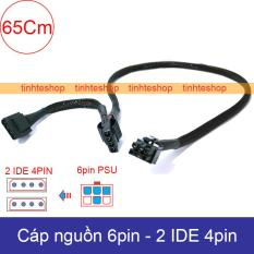 Cáp chuyển nguồn 6pin PSU ra 2x4pin IDE/ATA molex 65Cm DIY – Cáp đổi 6pin sang 4 pin ATX IDE