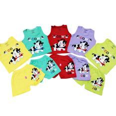 Combo 5 bộ cotton sát nách quần đùi bé trai và bé gái từ 4kg đến 30kg( mẫu ngẫu nhiên)