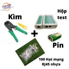 Combo (Kìm Bấm Mạng Xanh TOOL WJ-315 +100 Hạt Mạng Nhựa RJ45+Hộp Test mạng kèm Pin) – Test mạng kèm pin