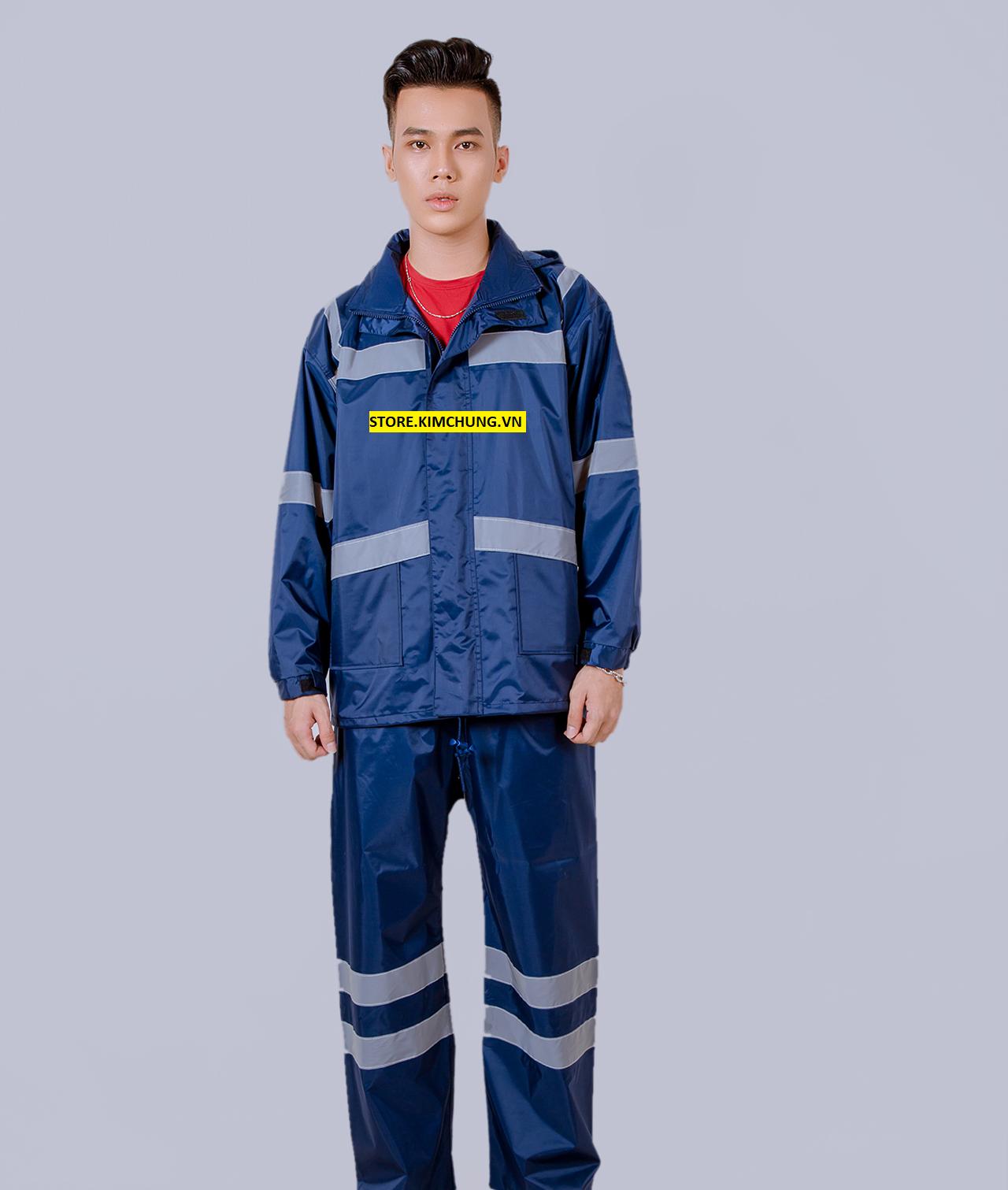 (Hàng cao cấp xuất khẩu) Áo mưa bộ phản quang, áo mưa bộ 2 lớp vải dù Đài Loan cao cấp ( 3 size từ 1m5-1m85)