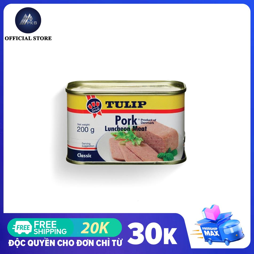 [MUA 2 GIẢM THÊM 5% + VOUCHER] Thịt hộp Tulip Pork Luncheon Meat 200g, nhập khẩu Đan Mạch, HSD 5 năm