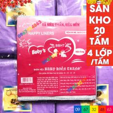 Miếng lót phân su BABY HIỀN TRANG bịch đại 20 miếng kèm tem 7 màu 4 lớp