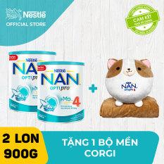 Bộ 2 lon sữa bột Nestle NAN Optipro 4 cho trẻ trên 2 tuổi 900g + Tặng 1 bộ mền Corgi