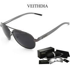 Kính mát nam phân cực thời trang chống tia UV đi râm chống chói VEITHDIA 2605 + đầy đủ hộp phụ kiện