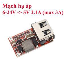 Mạch hạ áp BUCK 6-24VDC xuống 5V – 2.1A USB (max 5V 3A) – chế sạc điện thoại
