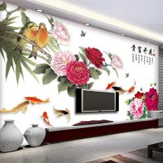 Decal dán tường cành hoa mẫu đơn và chim 3D khổ lớn CH2006 Decalslike3D