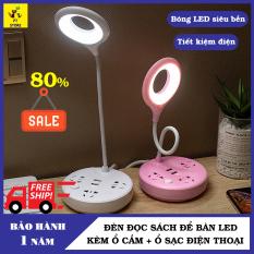[Bảo Hành 1 Năm]+Đèn LED Để Bàn, Đèn Học, Đèn Đọc Sách, Đèn Ngủ, Đèn Làm Việc Có Thêm 2 Cổng Sạc Nhanh Điện Thoại Chân USB, 3 Ổ Cắm Điện Thân Đèn Xoay 360 Độ PT Store