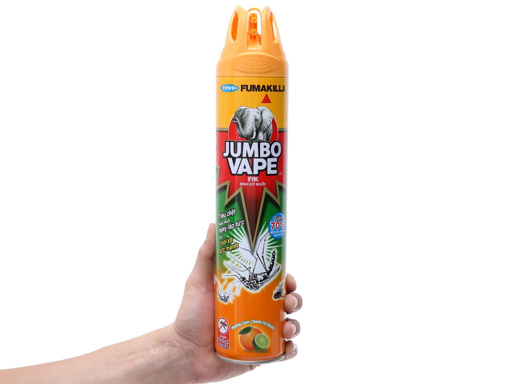[HÀNG CHÍNH HÃNG] Bình xịt muỗi, Xịt côn trùng Jumbo Vape FIK hương Cam chanh chai 600ml