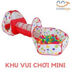 Nhà bóng cho bé kiểu nhà chơi liên hoàn gồm Lều – Ống chui – Quây banh có cột bóng rổ khung kim loại vải dù gấp gọn tự bung MoonShop 50091