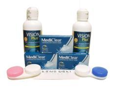 Kính áp tròng MediClear siêu mềm mỏng 0.05mm xx Úc – Trong suốt (tặng kèm khay đựng kính + nước ngâm Vision Plus)
